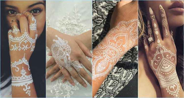 White mehndi designs for back hand sides