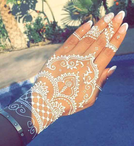 White lace henna designs for hands