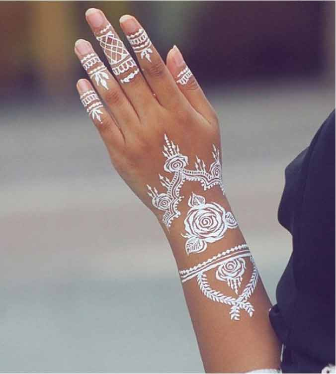 Bracelet white henna designs for hands