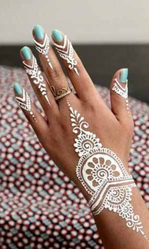 Thick white henna designs for hands