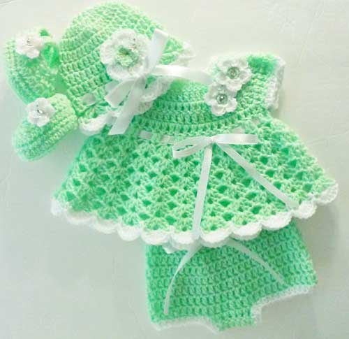 White and green baby dress for 14 August