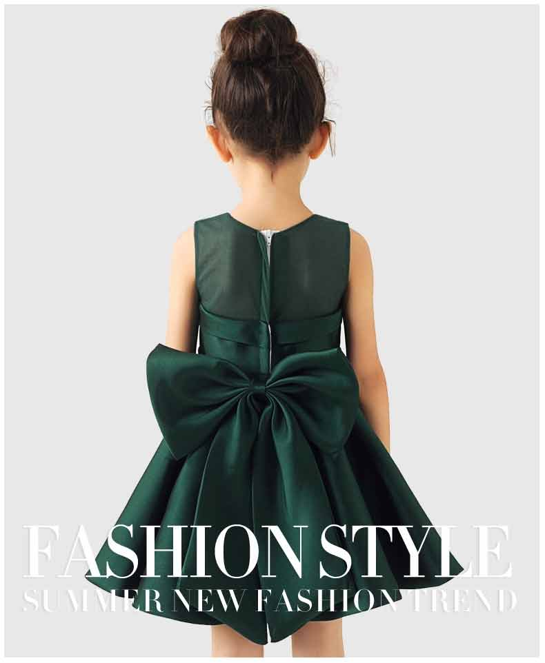 Baby girl green frock with bow for 14 august