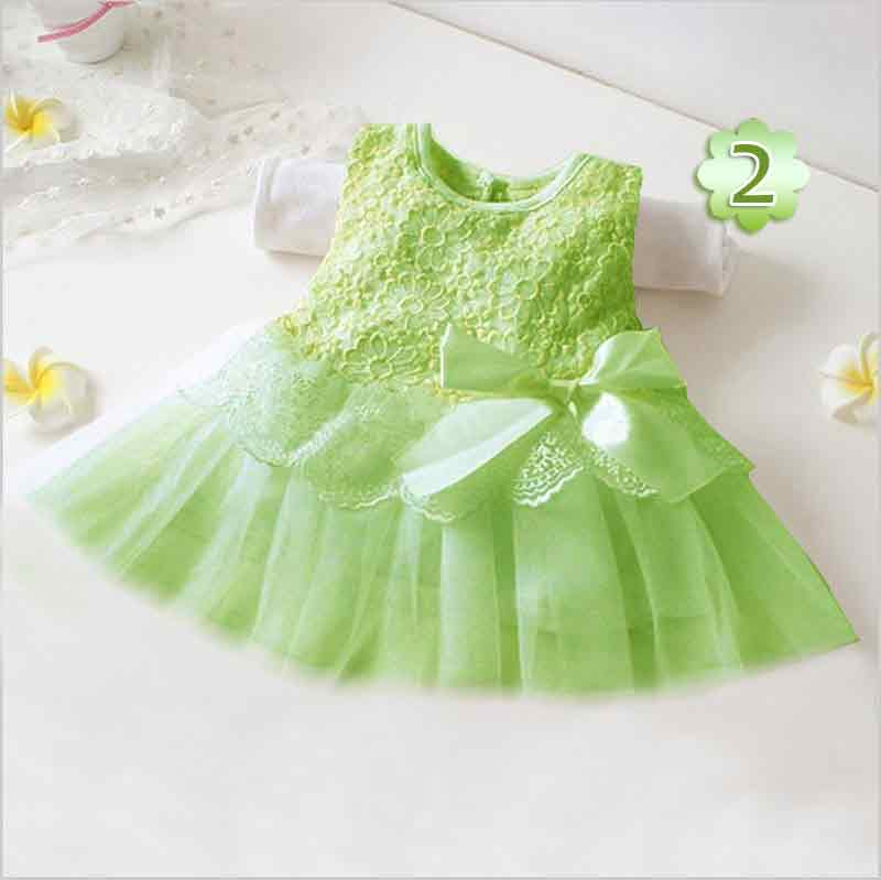 Green net lace frock for baby girls for 14 august
