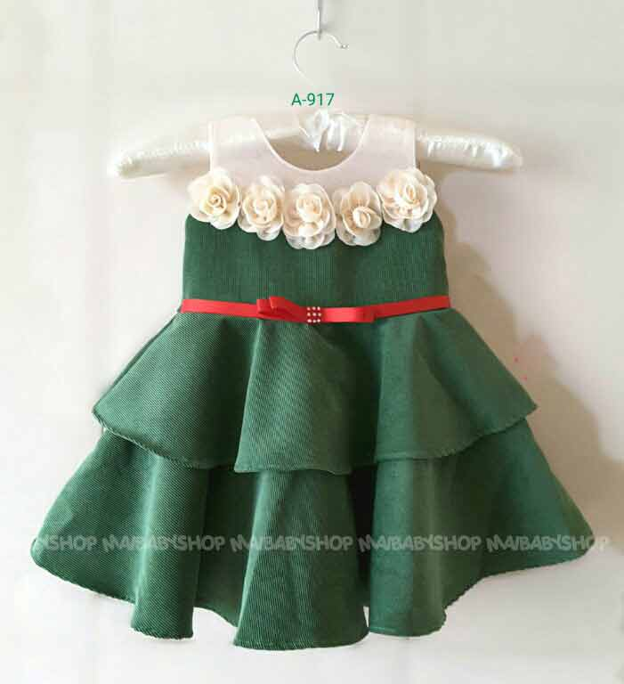 White and green baby frock with belt design for 14 august