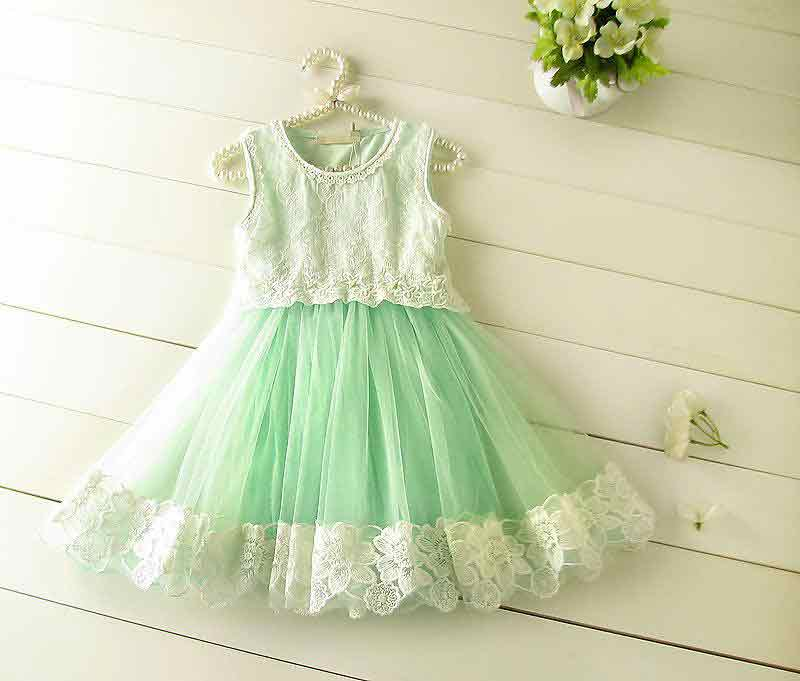 Latest 14 august white and green frock for baby girls