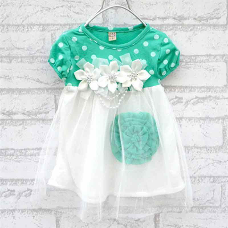 White and green baby girl dress for 14 August