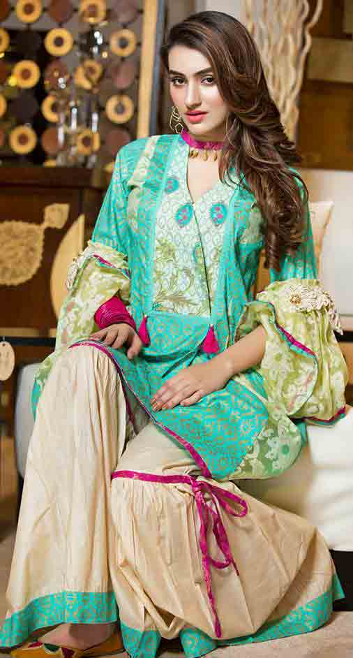 Green angrakha frock in lawn dresses stitching designs