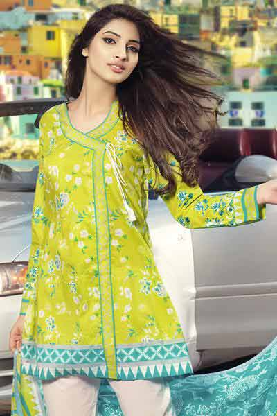 Yellow angrakha frock in lawn for girls