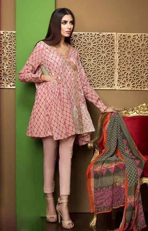 Pink angrakha frock in lawn dresses stitching designs
