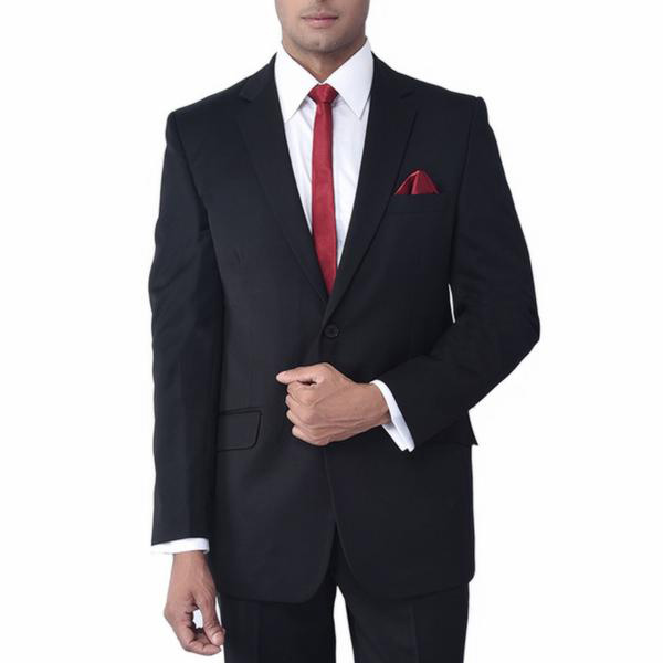 Black suit with red tie for groom
