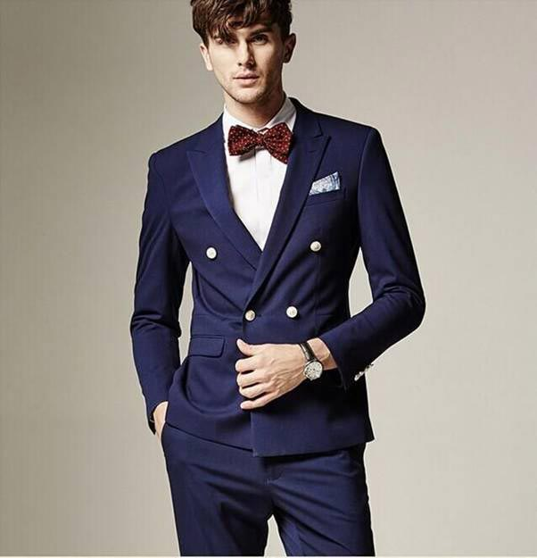 Buttoned blue wedding suit for groom