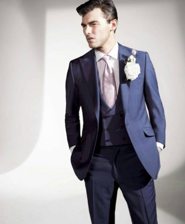 Navy blue walima dress suit for groom