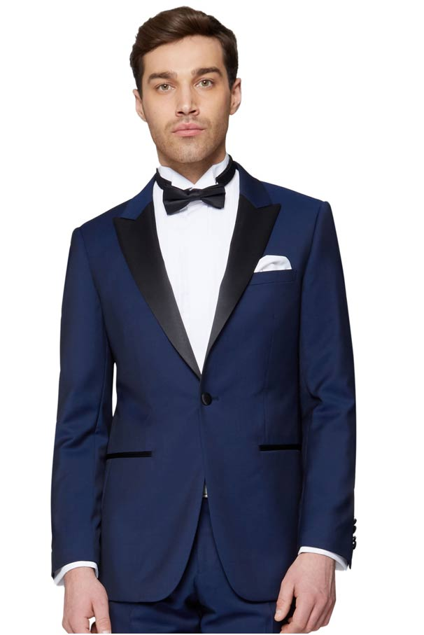 Blue groom suit with bow tie