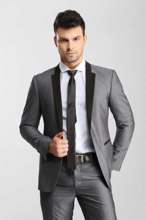 Grey groom suit for wedding