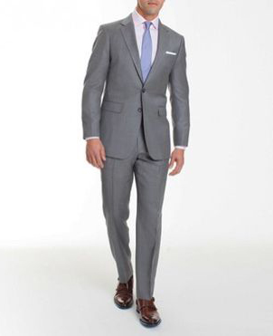 Grey wedding suit with blue tie for groom