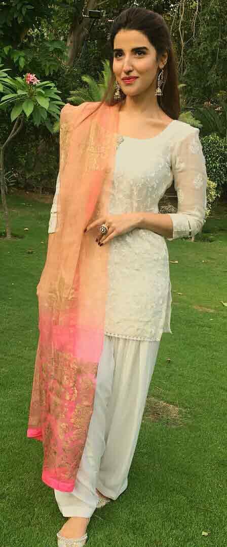 White kameez shalwar stitching style