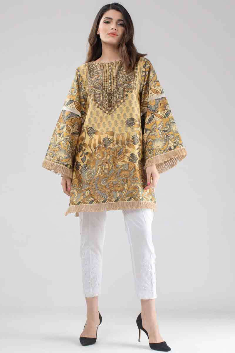 Digital printed lawn kurti stitching designs for girls