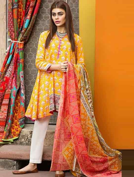 Yellow short frock in lawn dresses stitching designs