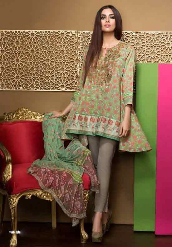 Lawn short frock stitching designs for Pakistani girls