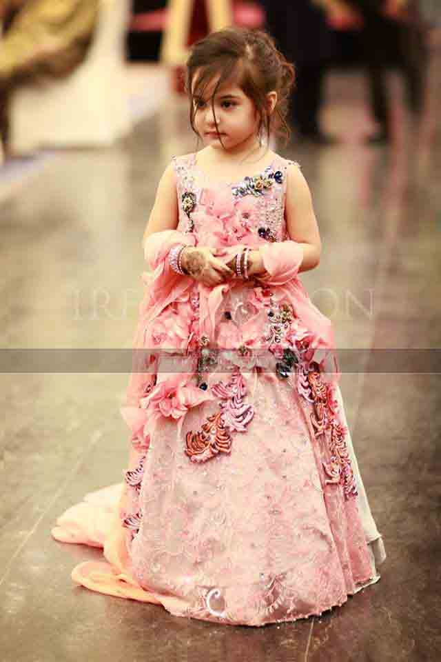 Pink baby girl princess wedding frock with floral lace