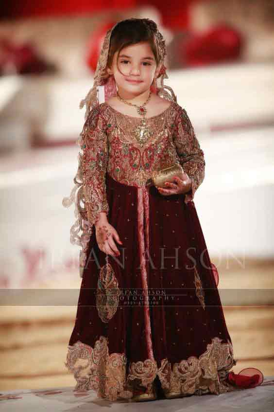 Maroon wedding frock for baby girls in Pakistan