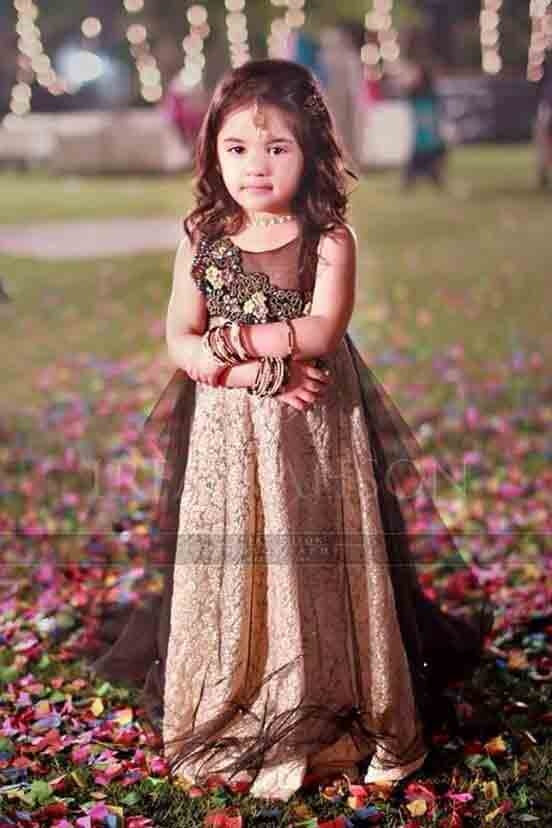 Golden and brown wedding frock for baby girls in Pakistan