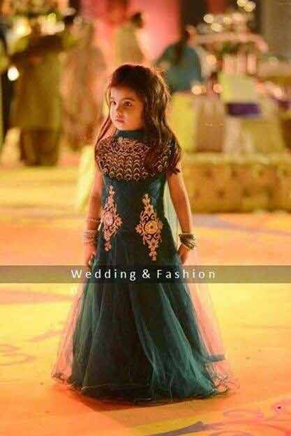 Green sleeveless baby girl wedding frock in Pakistan