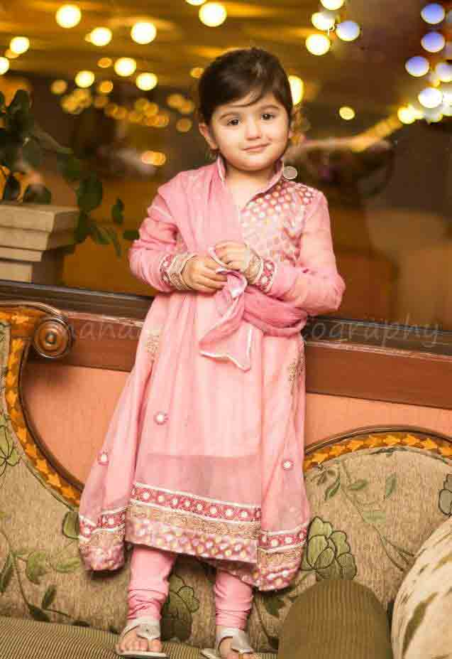 Light pink baby girl wedding frocks in Pakistan