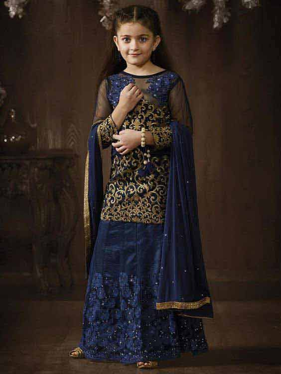 Blue and golden anarkali wedding frock for baby girls