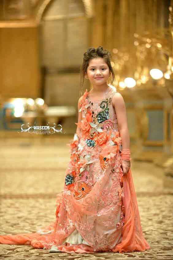 Peach baby girl wedding frock with lace in Pakistan