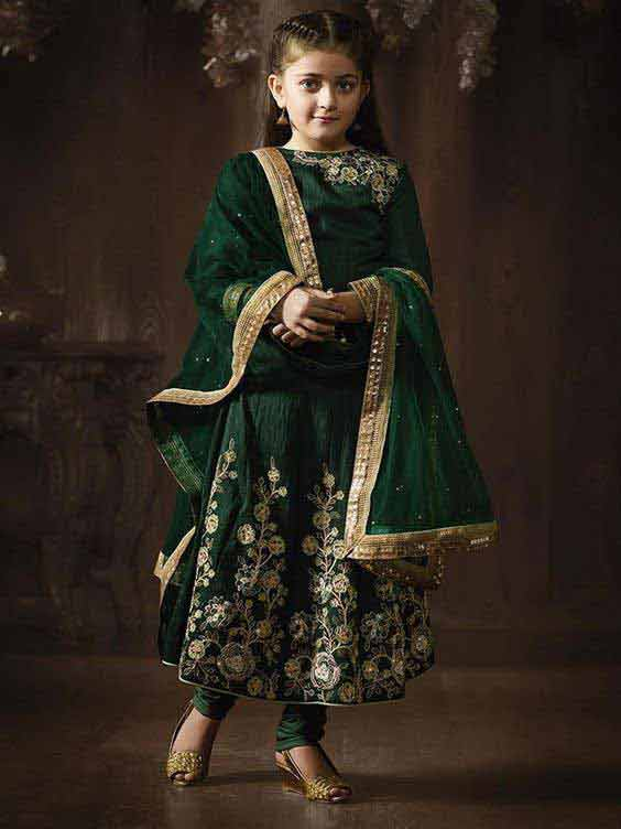 Latest green anarkali wedding frock for little girls