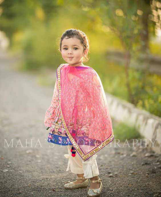 Latest pink angrakha baby girl wedding frock in Pakistan