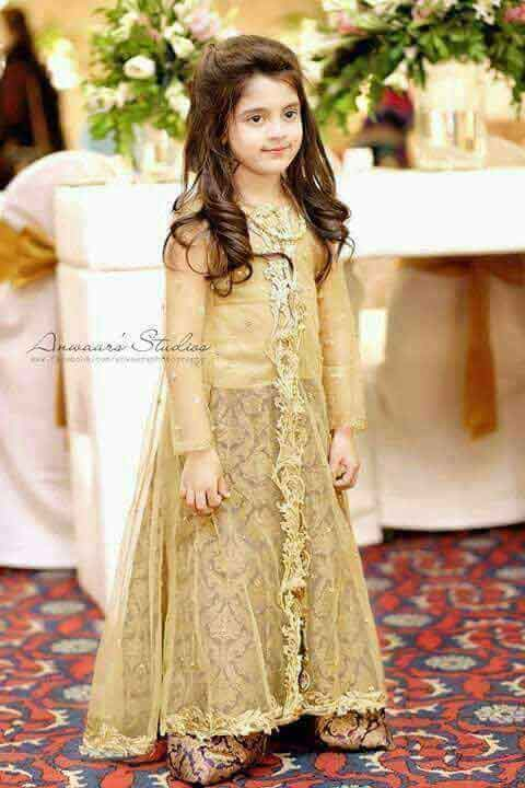 Golden baby wedding gown for girls