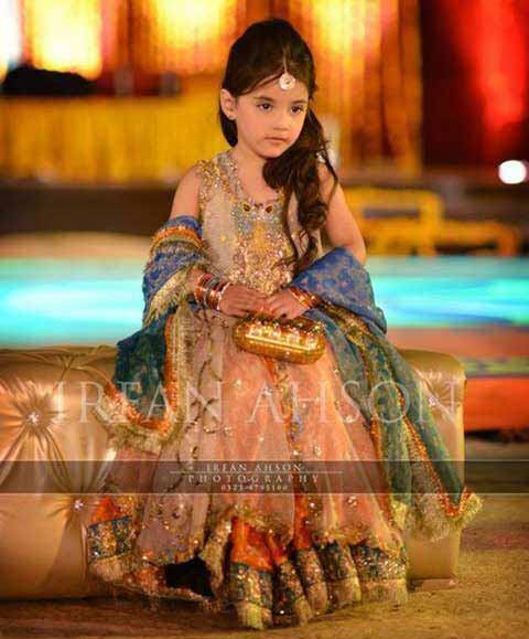 Latest peach and blue baby girl wedding frocks in Pakistan