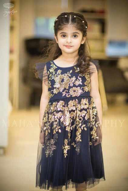 Blue and golden baby girl wedding frock in Pakistan