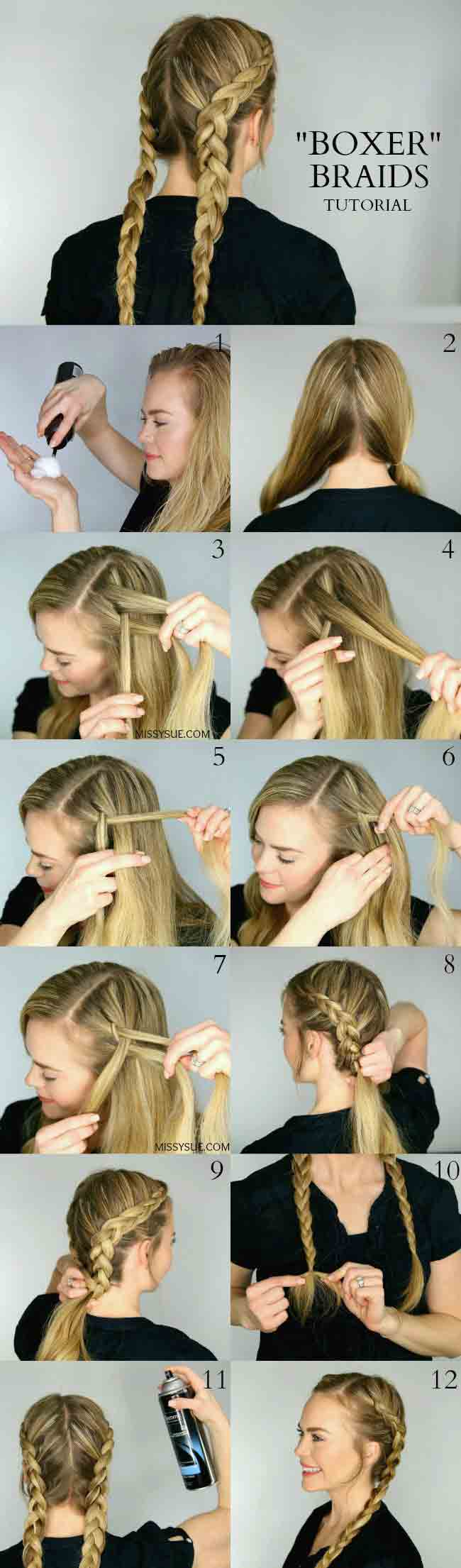 Dutch braid step by step for Christmas