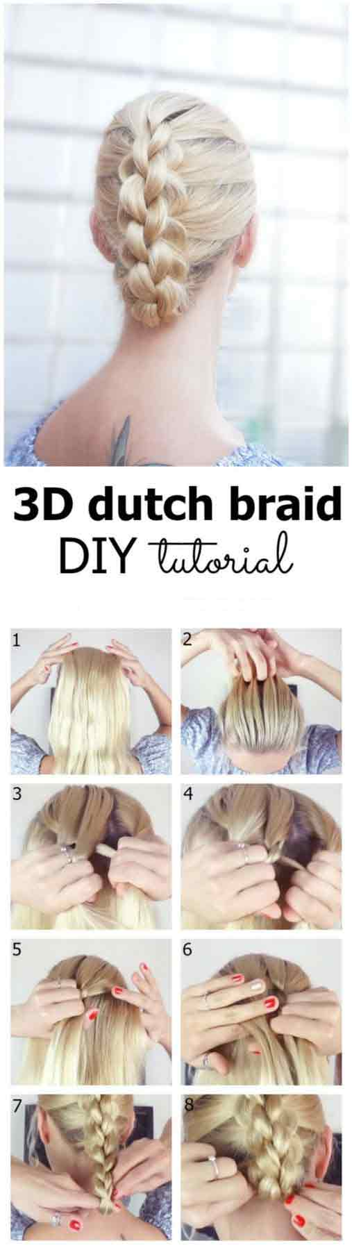 3D Dutch braid hairstyle step by step