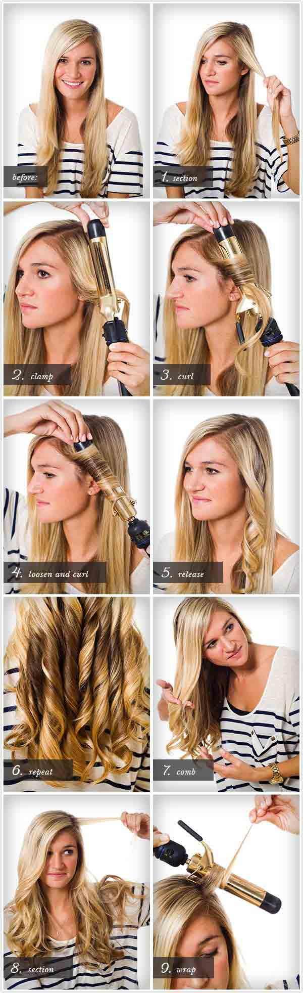 Elegant hair curls tutorial step by step