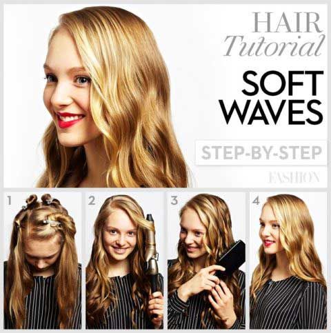 Hair curls waves tutorial step by step