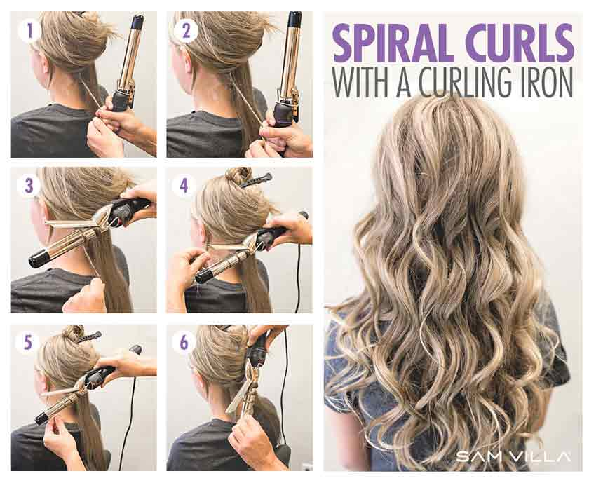 Spiral hair curls step by step tutorial