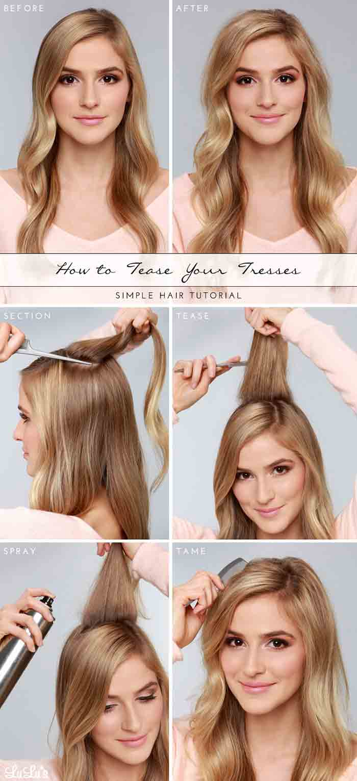 Hair teasing tutorial step by step