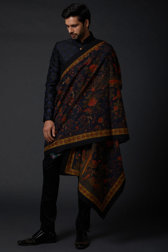 Navy blue Embroidered winter shawls for men