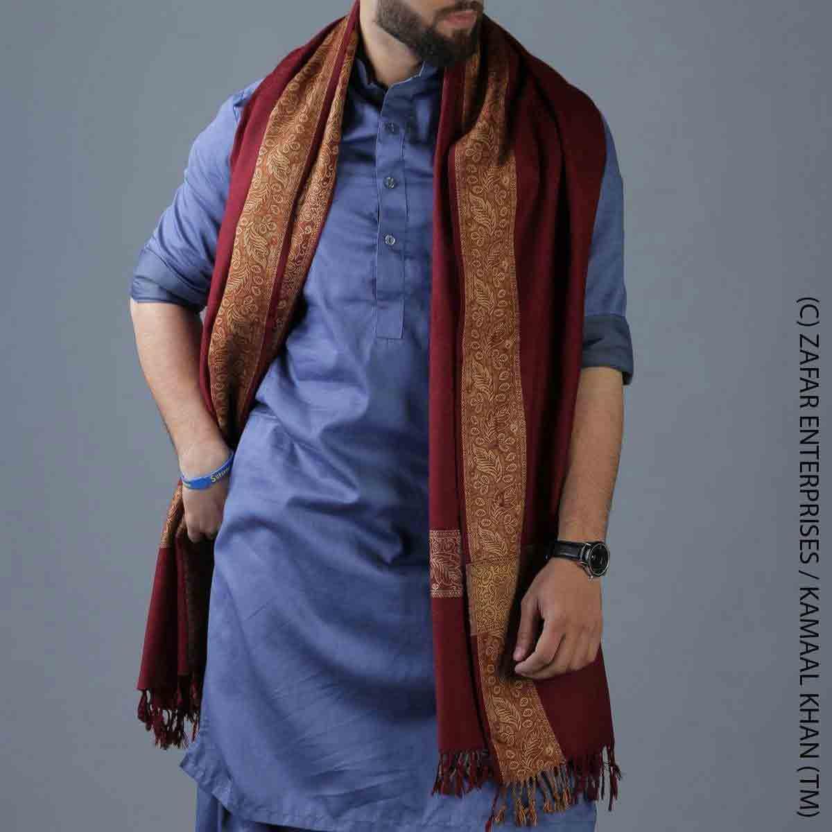 Maroon shawl designs for winter