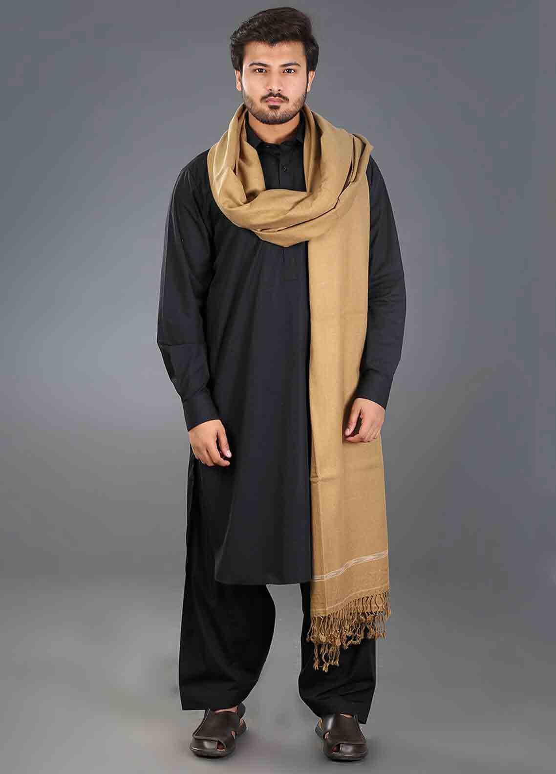 Beige winter shawls for men
