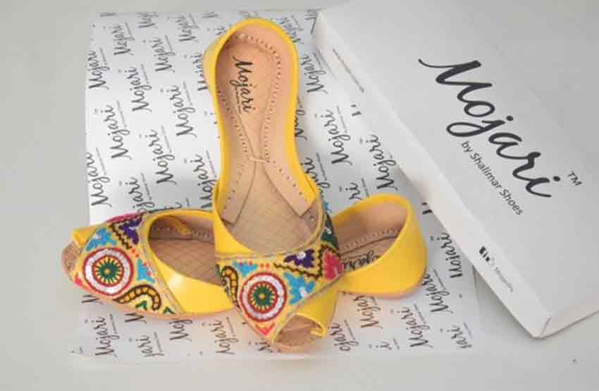 Yellow peep toes khussa designs for girls