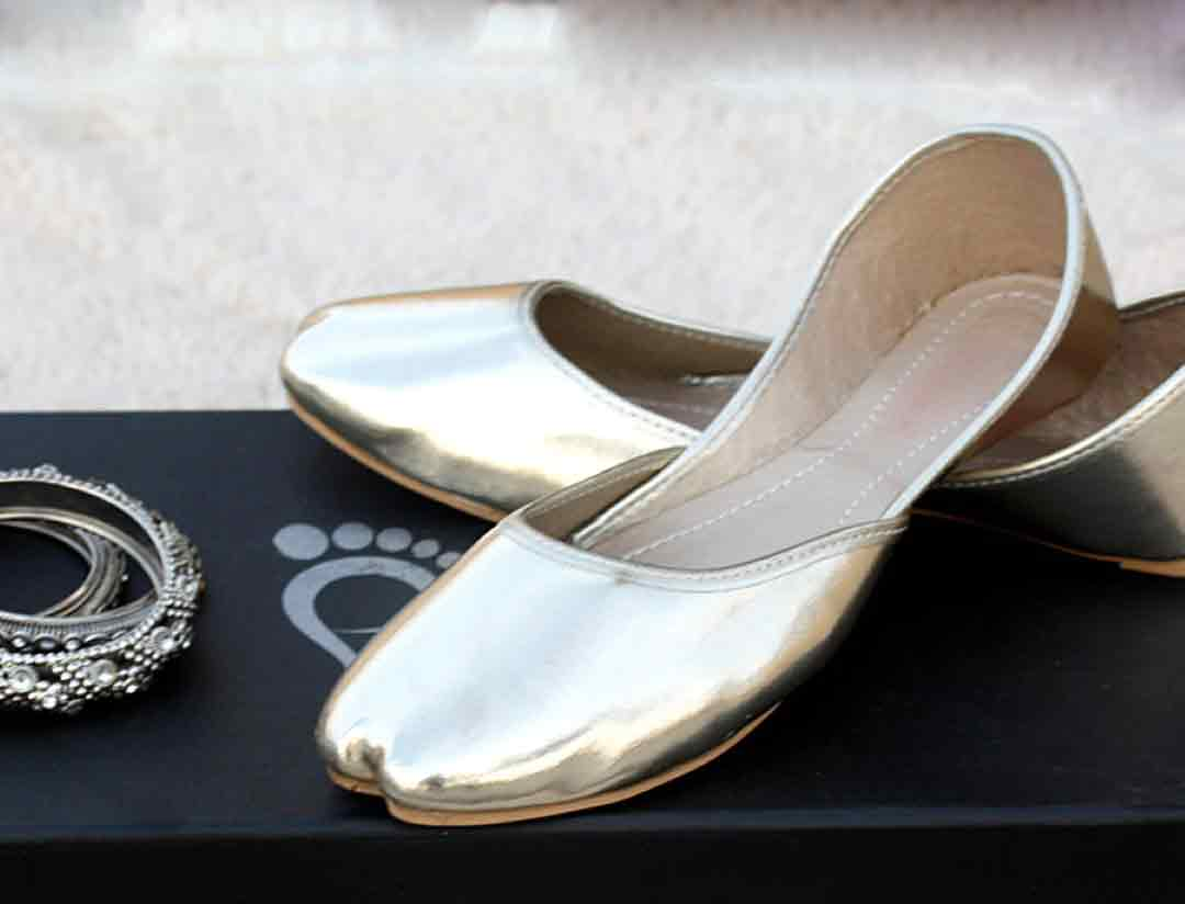 Plain silver khussa style for girls