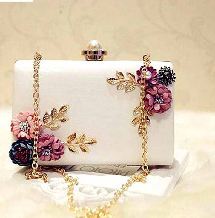 White shoulder clutch styles for girls