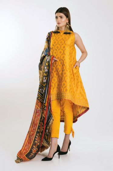 Latest yellow frock designs with dupatta for Eid