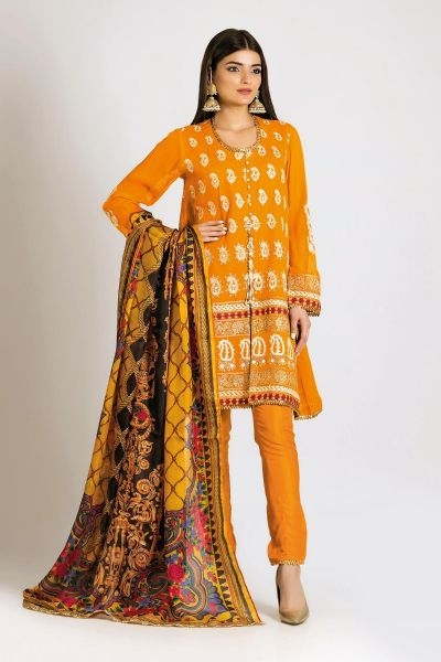 Yellow embroidered shirt with matching dupatta for girls