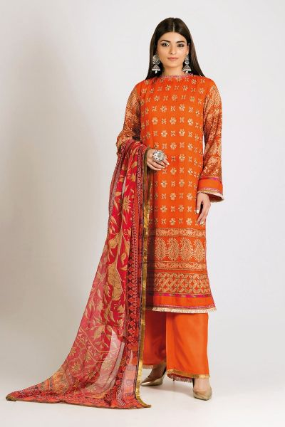 Orange shirt with red dupatta for Eid